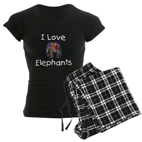 I Love Elephants Women's Dark Pajamas