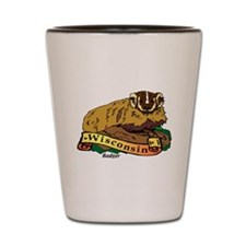 Funny Wisconsin badgers Shot Glass