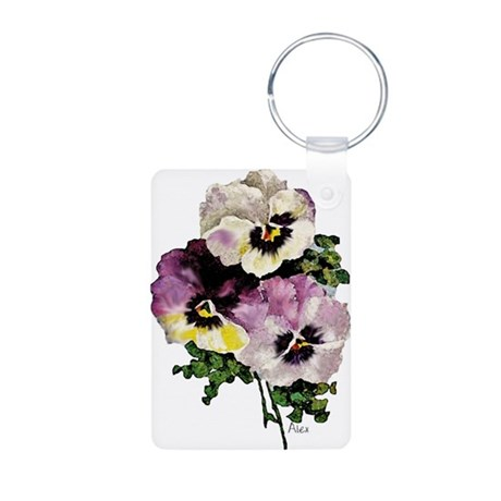 Pansy Aluminum Photo Keychain