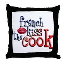 French Kiss the Cook Throw Pillow