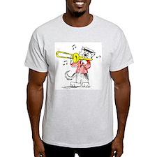Trombone front Jazz Cats back T-Shirt