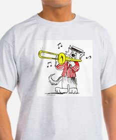 Trombone front Jazz Cats back T-Shirt