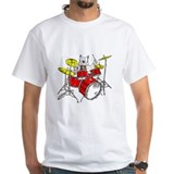 Cat playing drums Mens White T-shirts