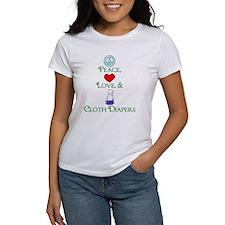 Peace, Love, & Cloth Diapers Tee