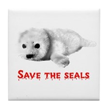 Save the Baby Harp Seals Tile Coaster