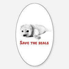 Save the Baby Harp Seals Oval Decal