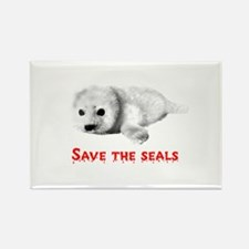Save the Baby Harp Seals Rectangle Magnet (10 pack