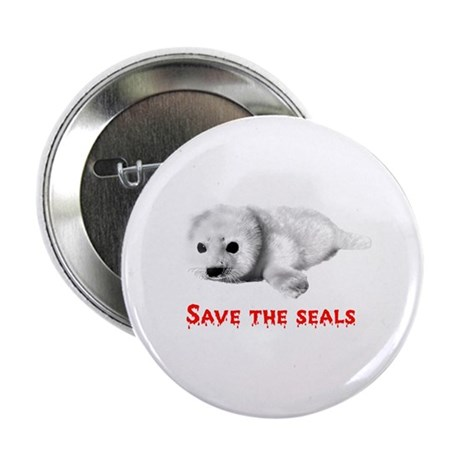 """Save the Baby Harp Seals 2.25"""" Button (100 pack)"""