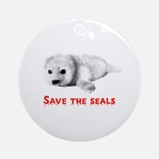 Save the Baby Harp Seals Ornament (Round)
