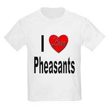 I Love Pheasants (Front) Kids T-Shirt