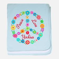 Peace Love Yorkies baby blanket