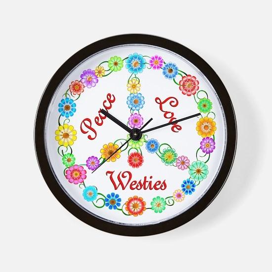 Peace Love Westies Wall Clock