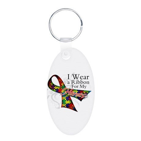 For My Heroes Autism Ribbon Aluminum Oval Keychain