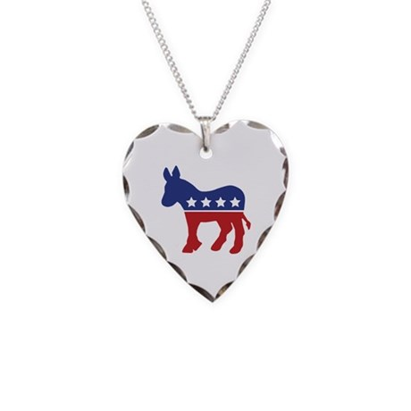 Democrat Donkey Necklace Heart Charm