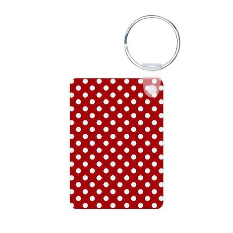 Red and White Polka Dot Aluminum Photo Keychain