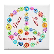 Peace Love Samoyeds Tile Coaster