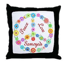 Peace Love Samoyeds Throw Pillow