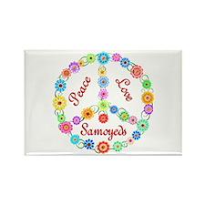 Peace Love Samoyeds Rectangle Magnet (10 pack)