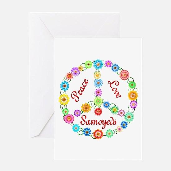 Peace Love Samoyeds Greeting Card