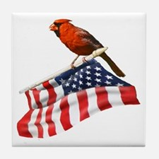 USA Cardinal Tile Coaster