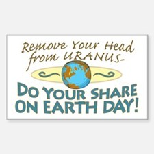 Funny Earth Day Uranus Rectangle Decal