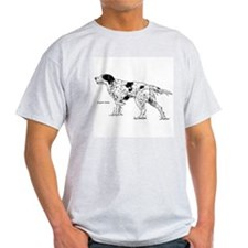 English Setter Dog (Front) Ash Grey T-Shirt