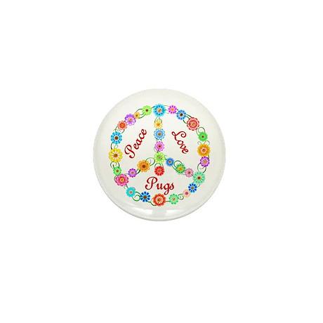 Peace Love Pugs Mini Button (10 pack)