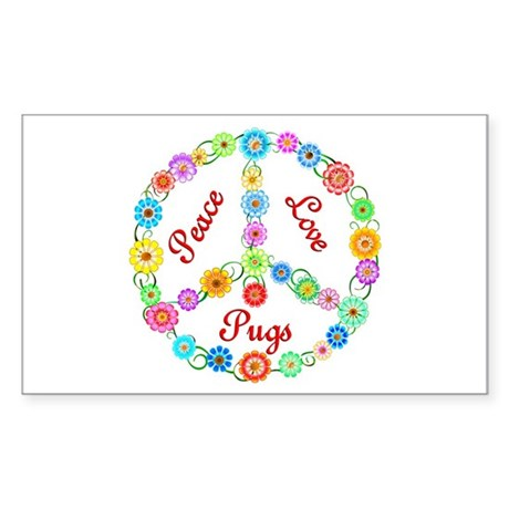 Peace Love Pugs Sticker (Rectangle)
