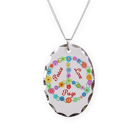 Peace Love Pugs Necklace Oval Charm