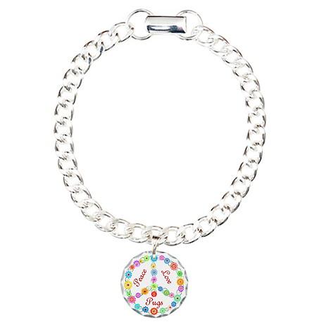 Peace Love Pugs Charm Bracelet, One Charm