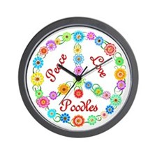 Peace Love Poodles Wall Clock