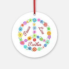 Peace Love Poodles Ornament (Round)
