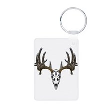 Whitetail deer skull Aluminum Photo Keychain