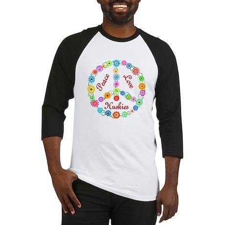 Peace Love Huskies Baseball Jersey
