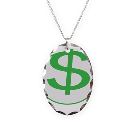 Dollar Sign, fun, Necklace Oval Charm