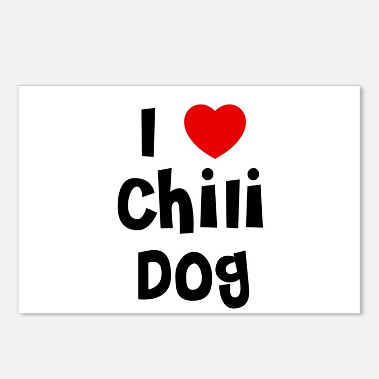I * Chili Dog Postcards (Package of 8)
