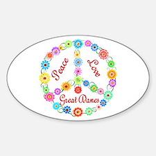 Peace Love Great Danes Sticker (Oval)