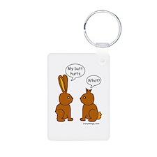 Funny Chocolate Bunnies Aluminum Photo Keychain