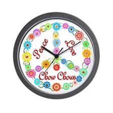 Peace Love Chow Chows Wall Clock