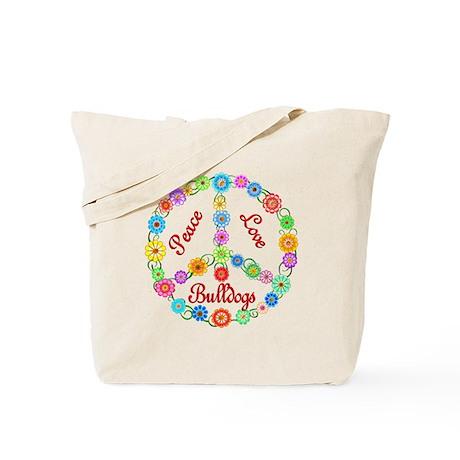 Peace Love Bulldogs Tote Bag