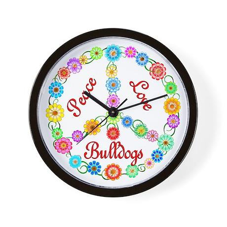 Peace Love Bulldogs Wall Clock