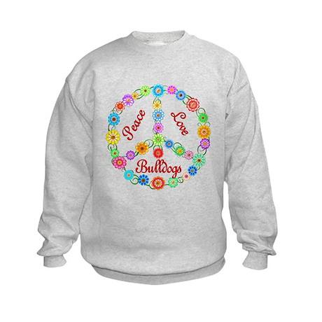 Peace Love Bulldogs Kids Sweatshirt