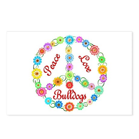 Peace Love Bulldogs Postcards (Package of 8)
