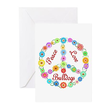 Peace Love Bulldogs Greeting Cards (Pk of 10)