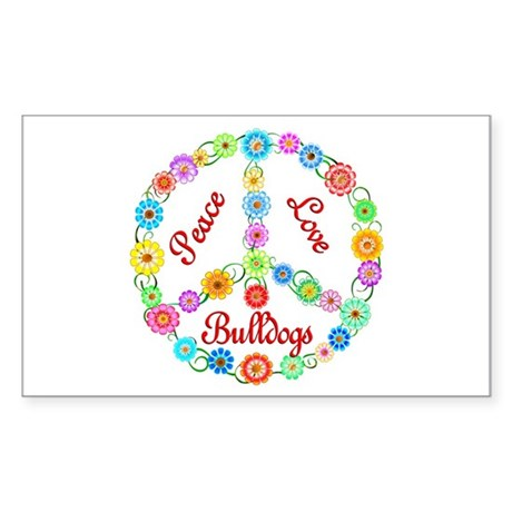 Peace Love Bulldogs Sticker (Rectangle)