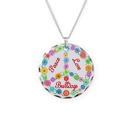 Peace Love Bulldogs Necklace Circle Charm