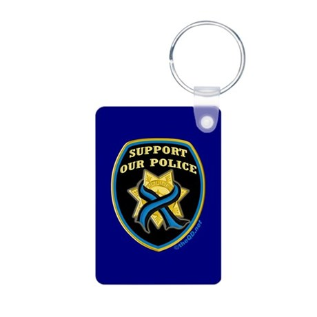 Thin Blue Line Support Police Aluminum Photo Keych