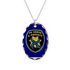 Thin Blue Line Serve Protect Necklace