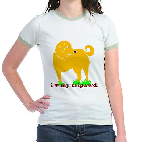 Golden Tripawd Love Jr. Ringer T-Shirt