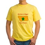 Montana is Bigger than France Yellow T-Shirt